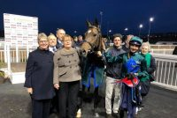 Delighted Owners of Kodiac Lass with their winning and jockey Gabriele Malune