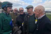 Owners receive a debrief from jockey Leighton Aspell