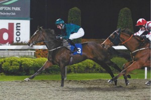 Good Luck Charm wins his first race at Kempton Park
