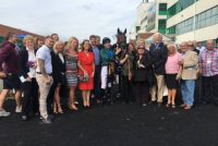 Owners with their winner as Good Luck Charm wins his sixth race