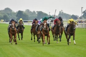 Raven's Lady hits the front in the Group 3 Summer Stakes