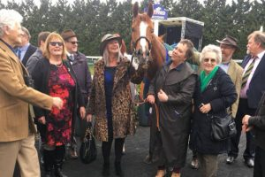 Such a special filly with her owners after winning at Kempton, April 2018
