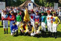 Jockeys for the Group 2 contest in the Parade Ring
