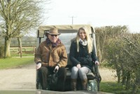 Owners travel in style on the buggy!