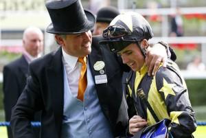 Trainer Robert Cowell with Goldream's jockey Martin Harley